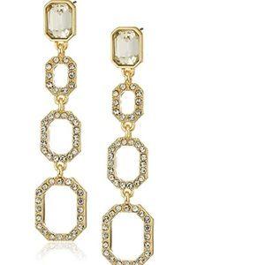 Tahari Gold and Rhinestone Dangling Drop Earrings